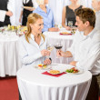 Business meeting banquet man and woman celebrate — Foto Stock