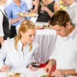Catering company event young colleagues eat — Stock Photo
