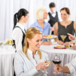 Business meeting banquet man and woman celebrate - Stock Photo