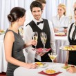 Foto Stock: Catering service at company event offer food