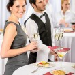 Catering service at company event offer champagne — Stock Photo