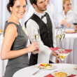 Catering service at company event offer champagne — Stock Photo #10888370