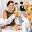 Business partners toast champagne company event — Stock Photo