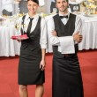 Catering service waiter, waitress business event — Stock Photo #10888550