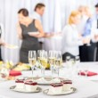 Desserts and Champagne for meeting participants - Stock Photo