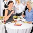 Stock Photo: Business women drink aperitif company meeting