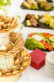 Bread selection catering buffet served food — Stock Photo