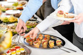 Snacks buffet at business company meeting — Stok fotoğraf
