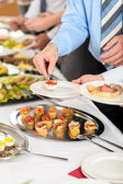 Snacks buffet at business company meeting — Stock Photo
