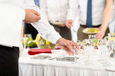 Business catering glasses for company celebration — Stock Photo
