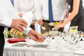 Business buffet lunch caterer serve wine appetizer — Stok fotoğraf