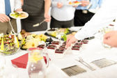 Catering mini dessert at business buffet table — Stok fotoğraf