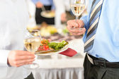 Business refreshments close-up appetizer plate and wine — Stock Photo