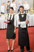 Catering service waiter, waitress business event — Stock Photo