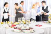 Desserts and Champagne for meeting participants — Stock Photo