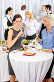 Business women drink aperitif company meeting — Stock Photo
