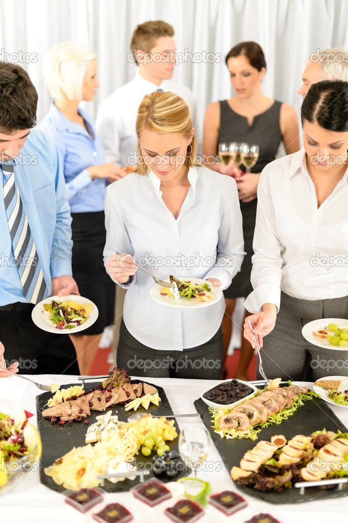 Download company meeting catering business eating stock image