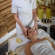 Woman head massage at luxury spa centre — ストック写真