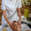 Woman head massage at luxury spa centre — Stockfoto