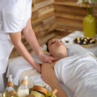 Beauty products in luxury spa room — Stock Photo