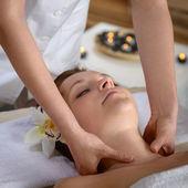 Woman neck massage at luxury spa — Stock Photo