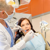 Healthy patient at dentist office — Stock Photo