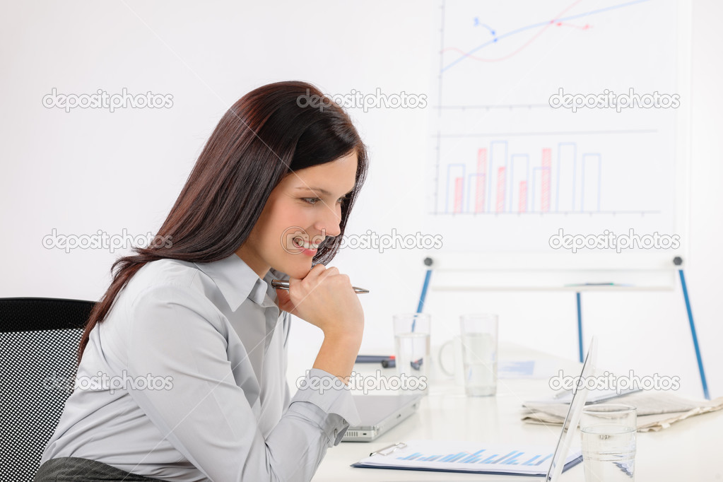 Professional businesswoman work on computer in office  Stock Photo #11375363