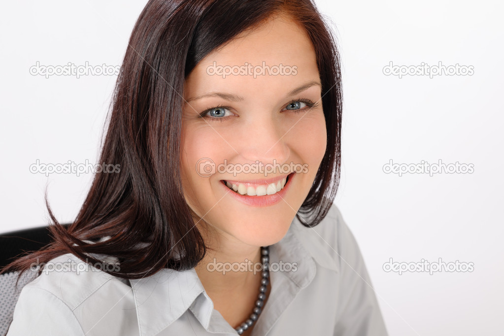 Professional businesswoman attractive smiling portrait in office  Stock Photo #11375372