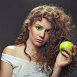 Sexual girl with green makeup — Stock Photo