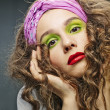 Alluring woman model with luxury fashion make-up - Stock Photo
