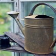 Old fashioned watering can standing in greenhouse — Stock Photo #11476777