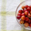 Pile of cherries palced in transparent bowl — Stock Photo