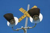 Luces que conductores advertencia acerca de tren — Foto de Stock