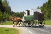 Wagon is making left turn from road — Stock Photo