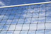 Volleyball net is strained tightly for game — Stock Photo