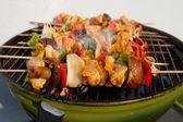 BBQ barbecuing skewers kebab — Stock Photo