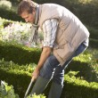 Young man working in garden — Stock Photo #11878975