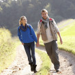 Young couple walking in park — Stock Photo #11879197
