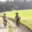 Two young children ride bicycles in park — Stock Photo #11879242