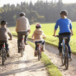 Stok fotoğraf: Young parents with children ride bikes in park