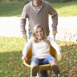 Man pushing wife through autumn leaves on wheelbarrow - Stockfoto