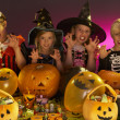 Halloween party with children wearing fancy costumes — 图库照片