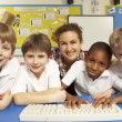 Schoolchildren in IT Class Using Computers with teacher — Stock Photo #11879654