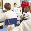 Stock Photo: Schoolchildren Studying In Classroom With Teacher
