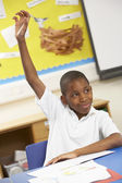 Schoolboy Raising Hand In Classroom — Stock Photo