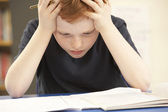 Stressed Schoolboy Studying In Classroom — Stock Photo