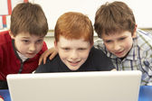 Group Of Schoolboys In IT Class Using Computer — Stock Photo