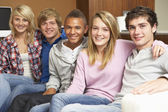 Group Of Teenage Friends Sitting On Sofa At Home — Stock Photo