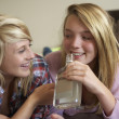 Two Teenage Girls Sitting On Sofa At Home Drinking Alcohol — Stock Photo