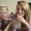 Stock Photo: Two Teenage Girls Sitting On Sofa At Home Drinking Alcohol